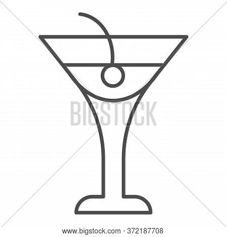 Cocktail Drink Thin Line Icon, Beverage Concept, Cocktail With Cherry Sign On White Background, Beac
