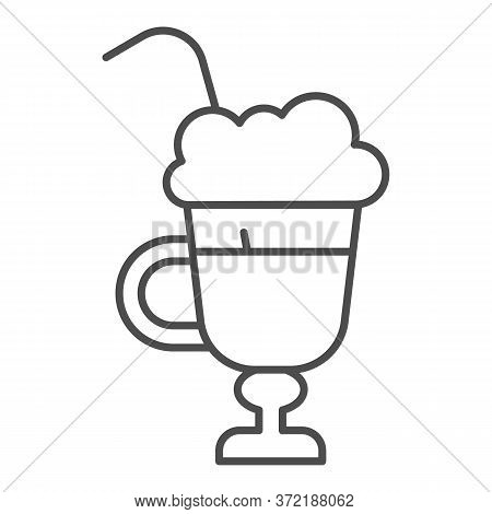 Latte With Cream In Glass Thin Line Icon, Beverage Concept, Latte Coffee With Whipped Cream Sign On