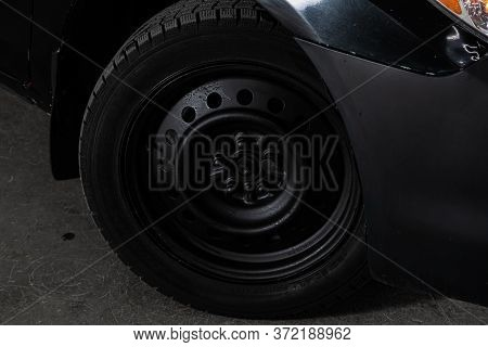 Novosibirsk/ Russia - June 10  2020: Toyota Matrix, Car Wheel With Alloy Wheel And New Rubber On A C