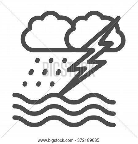 Ocean Windstorm With Rain And Lightning Line Icon, Nautical Concept, Ocean Storm Sign On White Backg