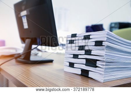 Pile Of A Lots Paper And Paperwork Report Or Printout Document On Office Desk Stack Up For Hard Work