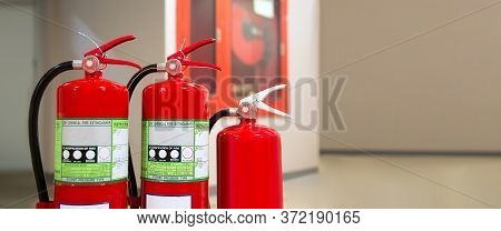 Red Fire Extinguishers Tank Concepts Of Fire Station For Emergency Prevention Rescue And Fire Safety
