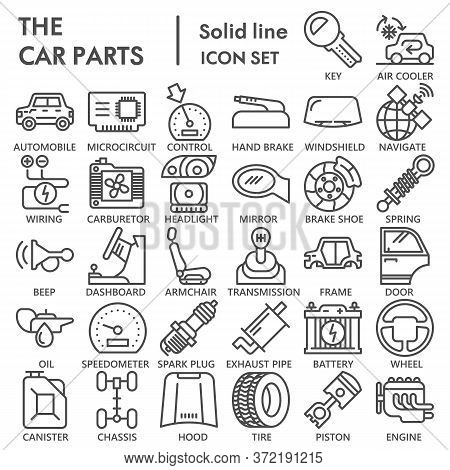 Car Parts Line Icon Set, Vehicle Repairing Symbols Collection Or Sketches. Car Inside And Outside Li