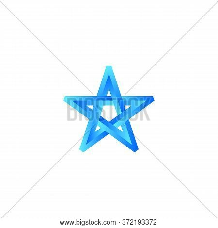Eschers Impossible Blue Star. Abstract Element For Logo And Icon. Symbol Of Success, Win, And Triump