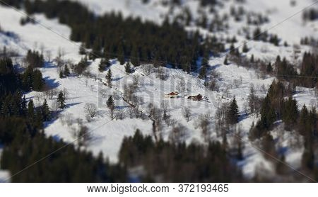 Panoramic View Of The Mountains Of France On A Winter Sunny Day. Haute Savoy, France. Snow Park. Til