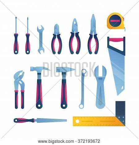 Repair Tools Icons Set In Cartoon Style. Carpentry Workshop Equipment Isolated Elements. Constructio