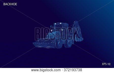 3d Wireframe Illustration Of Backhoe Loader Machine