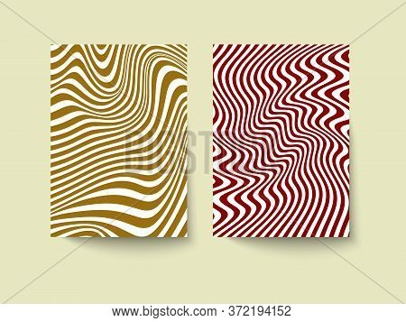 Template For Booklet, Flyer, Brochure Or Poster In Optical Illusion Style. Set Of Geometric Abstract
