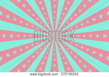 Circus Vintage Background, Vector Pastel Circus Retro Poster With Stars, Cartoon Carnival Wallpaper,