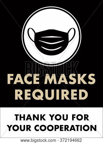Face Masks Required Sign | Vertical Facemask Poster For Restaurants And Retail Businesses | Covid-19