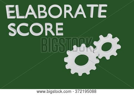 3d Illustration Of Elaborate Score Text Along With Two Engaged Gears, Isolated Green.