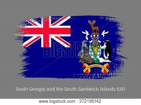 South Georgia Island Official Flag In Shape Of Paintbrush Stroke. South Georgia Self-governing Briti