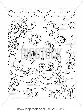 Coloring Page With Cartoon Underwater Scene With Seabed, Flock Of Fish, Crab, Algae, Waves