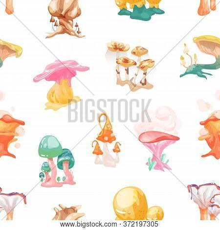 Colorful Fantasy Mushrooms Seamless Pattern. Bright Fairytale Fungus With Legs And Caps On White Bac