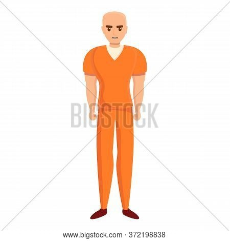 Bald Prison Person Icon. Cartoon Of Bald Prison Person Vector Icon For Web Design Isolated On White