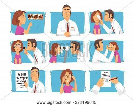 Ophthalmology Diagnostics, Male Ophthalmologist Doctor Examining Patient Eyesight With Professional
