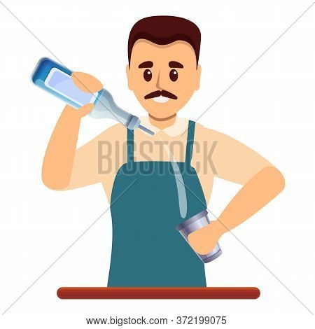 Smiling Bartender Icon. Cartoon Of Smiling Bartender Vector Icon For Web Design Isolated On White Ba