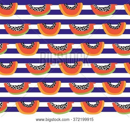 Orange Papaya Seamless Pattern. Exotic Summer Background. Tropical Sweet Fruit Slices With Pulp, See
