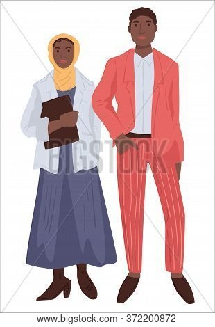 Muslim Couple, Man And Woman In Modest Clothes