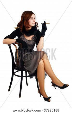 young fashion woman with cigarette