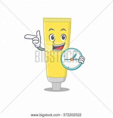 A Picture Of Cheery Hair Dye Holding A Clock