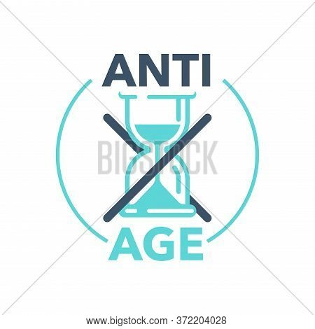 Anti-age Stamp - Emblem For Anti-aging Cosmetics Or Cosmetology Products Packaging - Crossed Out San