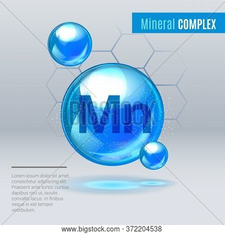 Mineral Mn Manganum Blue Shining Pill Capcule Icon . Mineral Vitamin Complex With Chemical Formula .