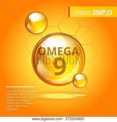 Vitamin Omega-9 Fatty Acids Gold Shining Pill Capsule Icon . Vitamin Complex With Chemical Formula D