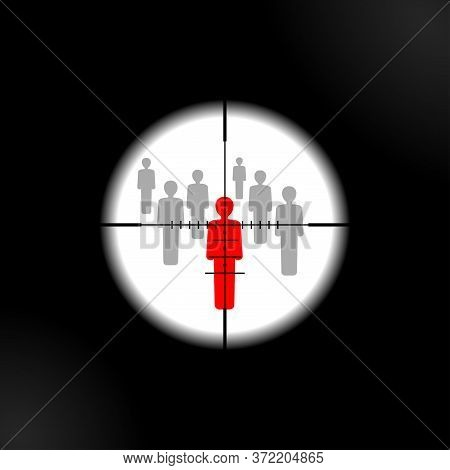 Terrorism Danger And War Conflict - Aiming To People With Optical Sight - Target Lens View - Vector