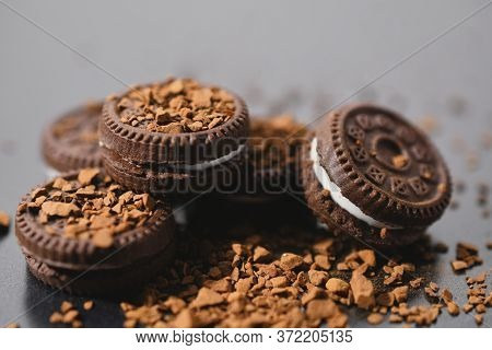 Close Up Of Chocolate Truffles With Coffee