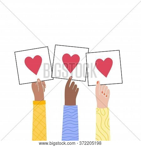 Male Or Female Multicultural Hand Holds A Heart Or Like Sign. The Concept Of Volunteering Or Love. F