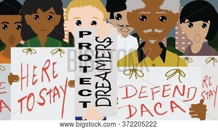 DACA Activist Rally Illustration Deferred Action for Childhood Arrivals