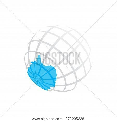 Antarctica Silhouette And South Pole On Abstract Earth Globe - Vector Illustration