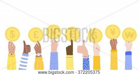 Male Or Female Multicultural Hands Hold A Coins Of International Currencies. The Concept Of Donation