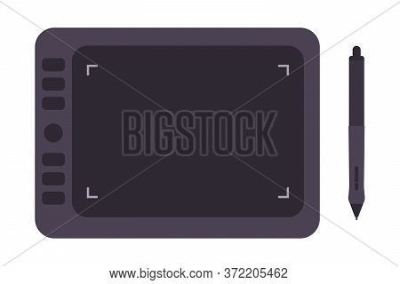 Tools For Digital Drawing In Vector Flat Style. Graphic Tablet And Stylus Pen For Digitalizing Illus