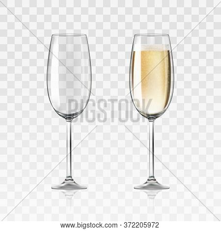 Vector Realistic Full And Empty Glasses Of Champagne, Beautiful Shining Glass Isolated On Transparen