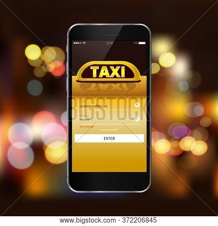 Taxi Service Application On A Screen Urban Cityscape. Smart Taxi Service Concept, Yellow Cab, Car Wi