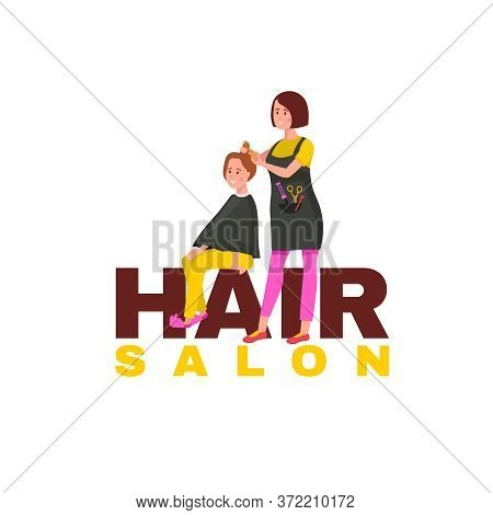 Hair Salon Logo. Hairdresser Service Logotype. Editable Vector Illustration In Flat Cartoon Style Is