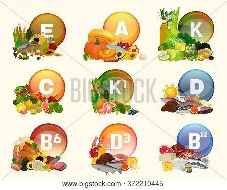 Essential Nutrients. Vitamins Collection. Multivitamin Dietary Supplement. Shiny Medicine Pill. Roun