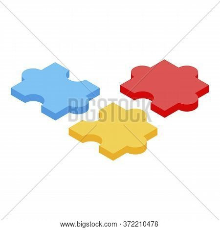 Kindergarten Puzzle Icon. Isometric Of Kindergarten Puzzle Vector Icon For Web Design Isolated On Wh