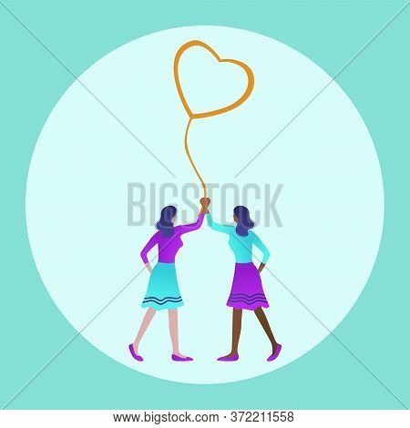 Lesbian Couple In Happy Pride Parade. Lgbt Pride Month In June. Lesbian Gay Bisexual Transgender. Ce