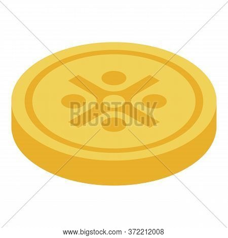 Gold Pirate Coin Icon. Isometric Of Gold Pirate Coin Vector Icon For Web Design Isolated On White Ba