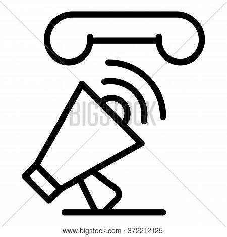 Megaphone And Handset Icon. Outline Megaphone And Handset Vector Icon For Web Design Isolated On Whi