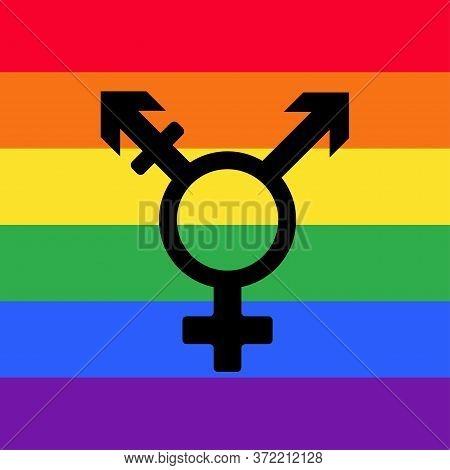 Transgender Sex Icon. Gender Symbol. Black Sign On A Rainbow Flags, Symbols Of Sex.