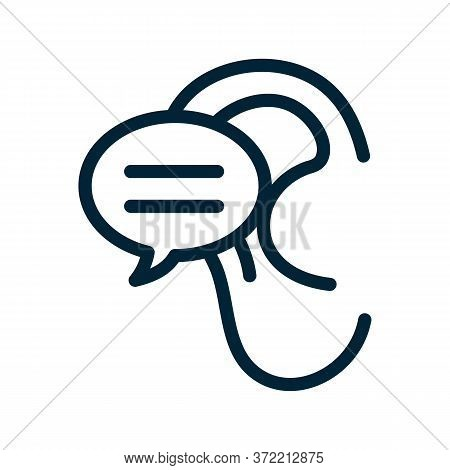 Sound Ear Icon Vector. Sound Ear Sign. Isolated Contour Symbol Illustration