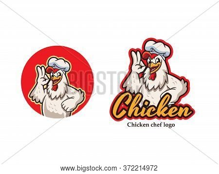 Chicken Mascot Logo Vector. Chicken Vector Illustration. Chicken Chef Restaurant Logo. Organic Farm