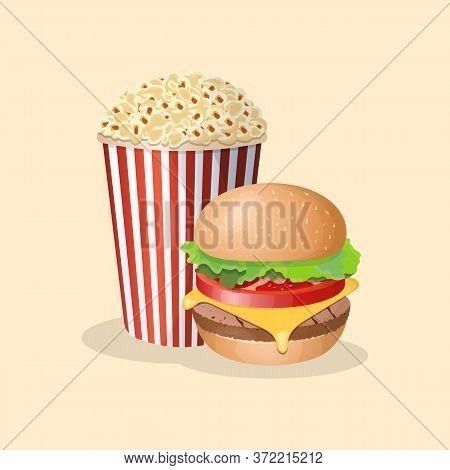 Burger With Popcorn - Cute Cartoon Colored Picture. Graphic Design Elements For Menu, Poster, Brochu