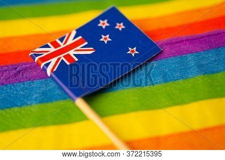 New Zealand Flag On Rainbow Background Symbol Of Lgbt Gay Pride Month  Social Movement Rainbow Flag