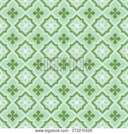 Retro Vintage Chinese Traditional Pattern Seamless Background Green Geometry Check Frame Line Star C