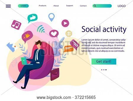 Social Networking And Young Generation. Flat Emotional Vector Illustration For Website And Landing P
